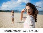 happy beautiful woman in... | Shutterstock . vector #620475887