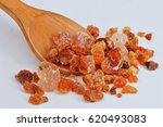 gum arabic on wooden spoon ... | Shutterstock . vector #620493083