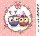greeting card with two cute... | Shutterstock .eps vector #620501963