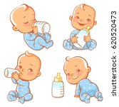 set with cute little baby with... | Shutterstock .eps vector #620520473