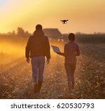 farmer woman with laptop and... | Shutterstock . vector #620530793
