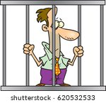 cartoon man in jail | Shutterstock .eps vector #620532533