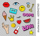 fashion badges set with patches ... | Shutterstock .eps vector #620542763