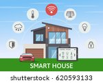 modern smart house with car... | Shutterstock .eps vector #620593133