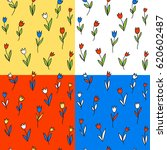 4 seamless pattern with tulips. ... | Shutterstock .eps vector #620602487
