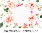 Floral Frame Made Of Pink Rose...