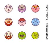 hand drawn set of colorful face ... | Shutterstock .eps vector #620634653