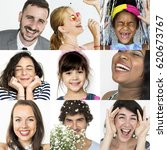 collage of people smiling... | Shutterstock . vector #620673767