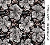 aloha typography with hibiscus... | Shutterstock .eps vector #620675633