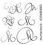 set of art calligraphy letter m ... | Shutterstock .eps vector #620680883