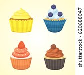set of cute vector cupcakes and ... | Shutterstock .eps vector #620688047