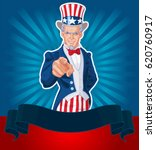 uncle sam pointing patriotic... | Shutterstock .eps vector #620760917