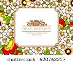 invitation with floral... | Shutterstock .eps vector #620763257