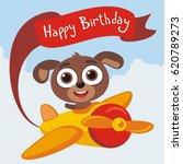 happy birthday  funny puppy... | Shutterstock .eps vector #620789273