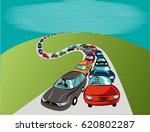 road with a long queue of cars.