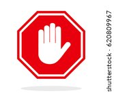 red stop hand sign | Shutterstock .eps vector #620809967