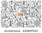 hand drawn chess doodle set... | Shutterstock .eps vector #620849543
