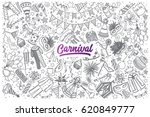 hand drawn carnival doodle set... | Shutterstock .eps vector #620849777