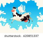 flying cow with wings from milk.... | Shutterstock .eps vector #620851337