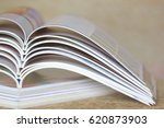 close up stacking of magazine ... | Shutterstock . vector #620873903
