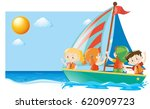 summer scene with kids sailing... | Shutterstock .eps vector #620909723