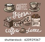 hand drawn doodle coffee... | Shutterstock .eps vector #620929367
