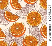 seamless pattern with orange... | Shutterstock .eps vector #620951327