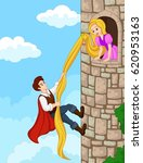 prince climbing tower using... | Shutterstock . vector #620953163