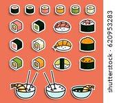 vector meal rolls sushi set   Shutterstock .eps vector #620953283
