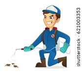 exterminator killing bugs using ... | Shutterstock .eps vector #621003353