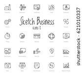 set of black sketch business... | Shutterstock .eps vector #621010337