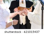 wedding ceremony  bride  groom  ... | Shutterstock . vector #621015437