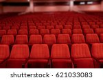 red velvet seats for spectators ... | Shutterstock . vector #621033083
