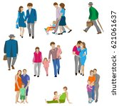 set of characters  family... | Shutterstock .eps vector #621061637