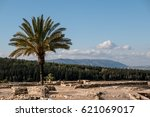 Small photo of Looking toward Mount Carmel from the northern stable ruins at Tel Megiddo in Israel. These stables are believed to have been constructed by either King Solomon or King Ahab.