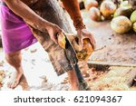 Man Open Coconut Shell By Old...
