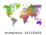 world map colorful low poly.... | Shutterstock .eps vector #621132653