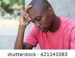 hairless african american man... | Shutterstock . vector #621141083
