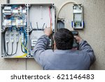picture of an electrician... | Shutterstock . vector #621146483