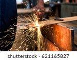 worker cutting metal sheet by... | Shutterstock . vector #621165827
