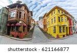 balat district streets view...   Shutterstock . vector #621166877
