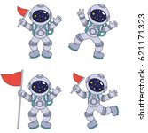 spaceman set  collection of... | Shutterstock .eps vector #621171323