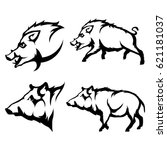 vector set of black wild boars... | Shutterstock .eps vector #621181037