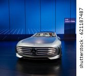 Small photo of FRANKFURT - SEPTEMBER 23: Mercedes-Benz Concept IAA shown at the 66th IAA on September 23, 2015 in Frankfurt, Germany.(Intelligent Aerodynamic Automobile) - world premiere