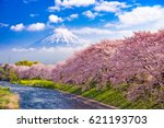 mt. fuji  japan and river in... | Shutterstock . vector #621193703