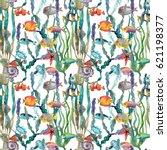 watercolor sea life  seaweed ...   Shutterstock . vector #621198377