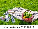 picnic basket and blanket | Shutterstock . vector #621218117