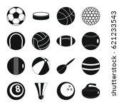 sport balls icons set. flat... | Shutterstock . vector #621233543