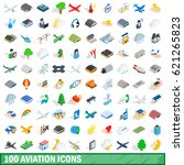 100 aviation icons set in... | Shutterstock . vector #621265823