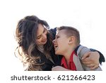 happy young mother and her nine ... | Shutterstock . vector #621266423